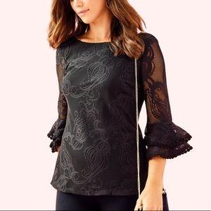 Lilly Pulitzer Liana Blouse Crochet Lace Black XL